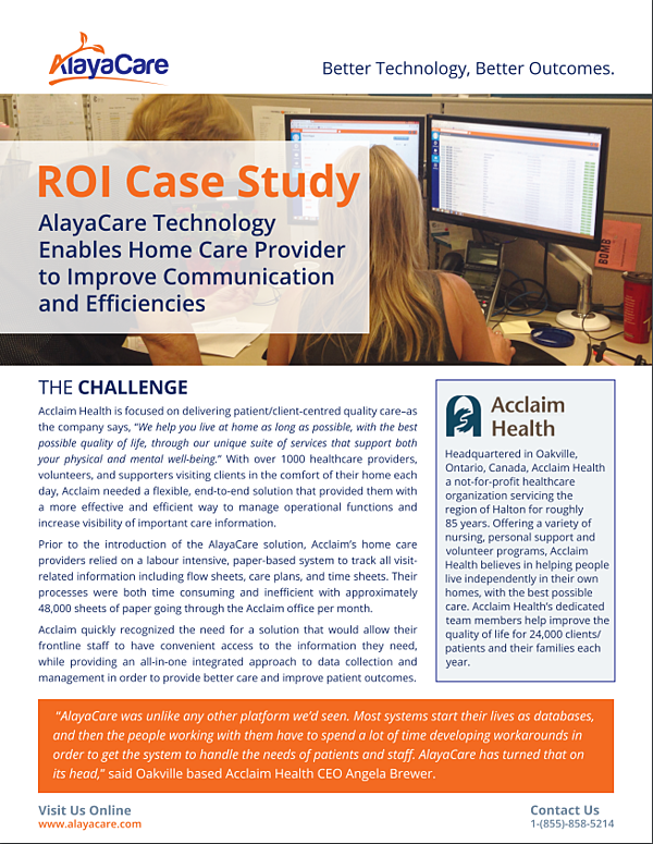 ROI Case Study – Acclaim Health