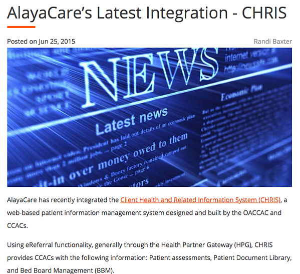 AlayaCare and CHRIS