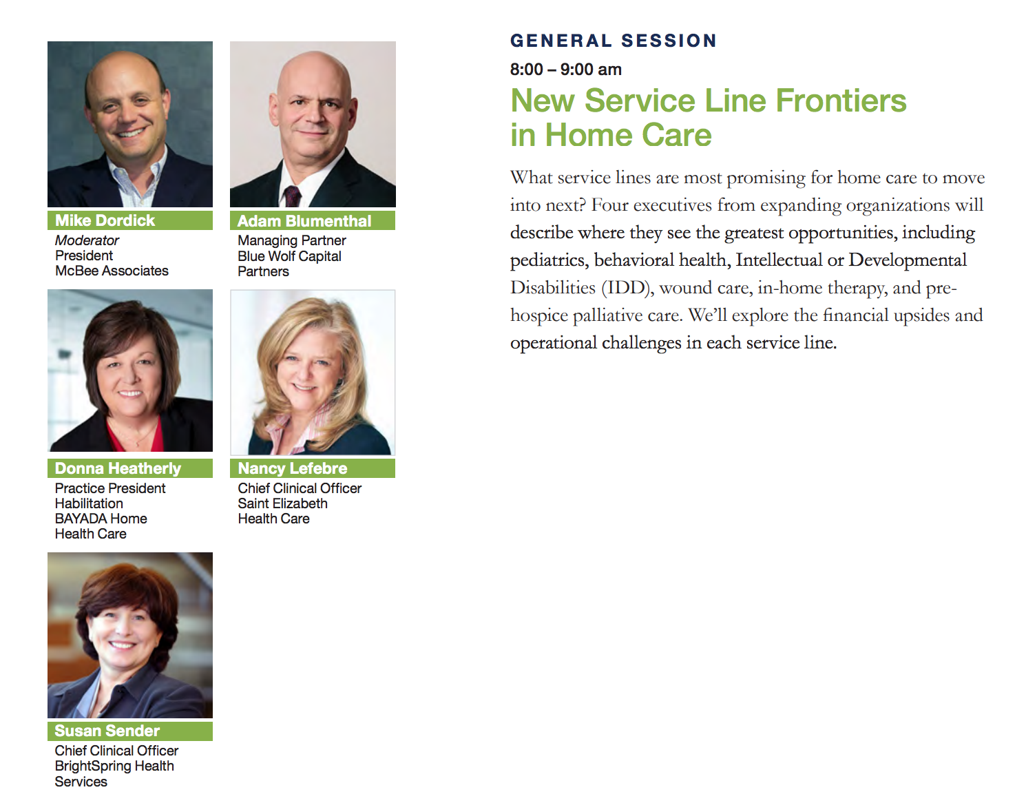 general session: new service line frontiers in home care