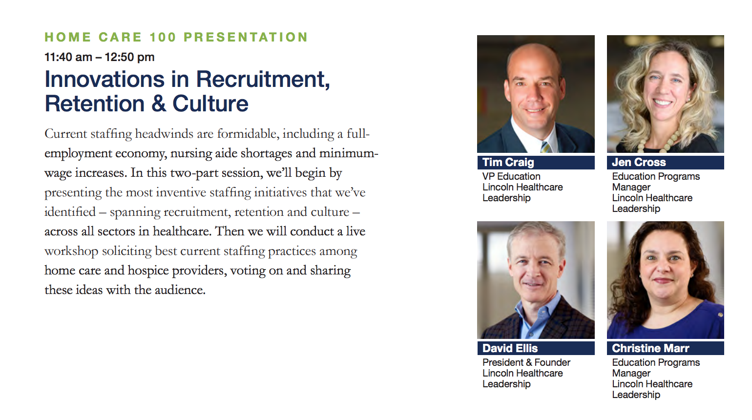Home Care 100 presentation: Innovations in recruitment, retention and culture