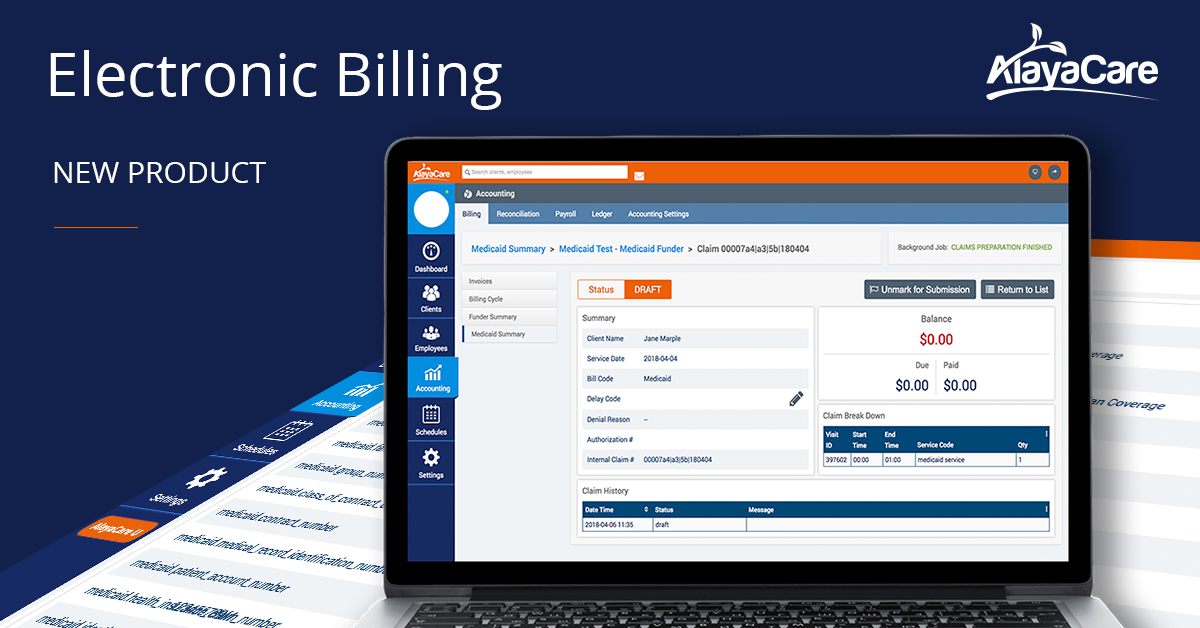 AlayaCare's Electronic Billing: Automatic Claim Submission and Adjustments